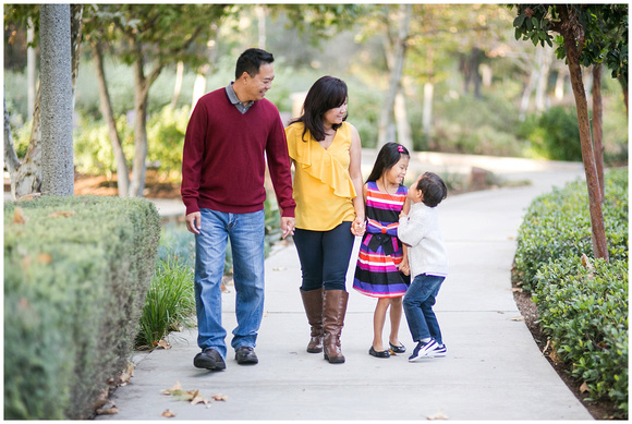 purple maroon and yellow colored family session at Oso Park in Mission viejo