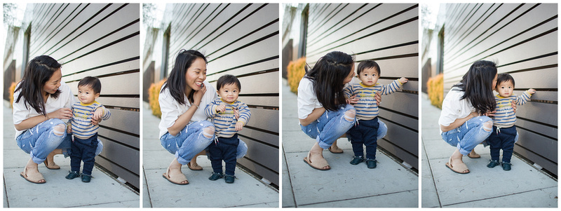 Mother and son photoshoot in downtown long beach california