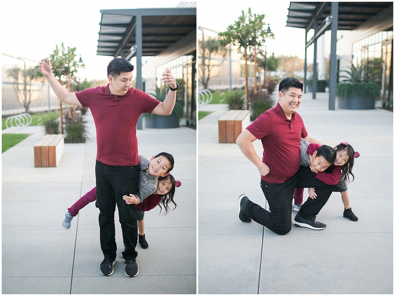Burgundy, grey, and black Family Session at the Long Beach Exchange, California