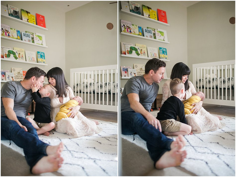 In Home Lifestyle Newborn Family Session Wearing Beige, Grey, Black and Yellow.