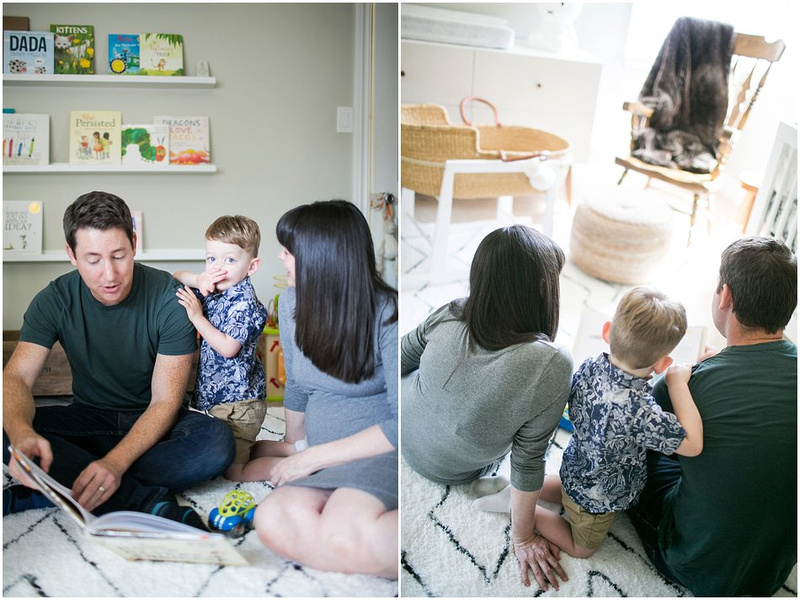 In Home Maternity Session with Grey, Navy, and Teal