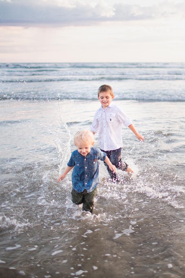 Erickson Boys Having Fun at Beach Family Session Oceanside Sunset