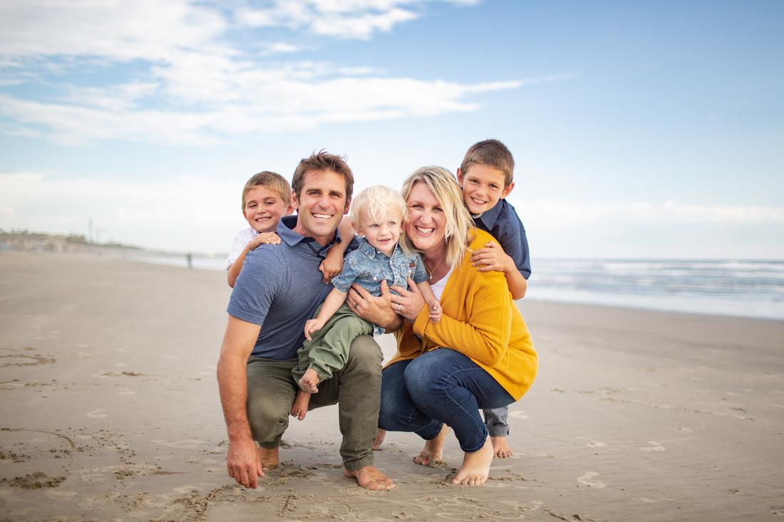 Erickson Family Dressed Up Wardrobe At Oceanside Beach Sunset Family Session
